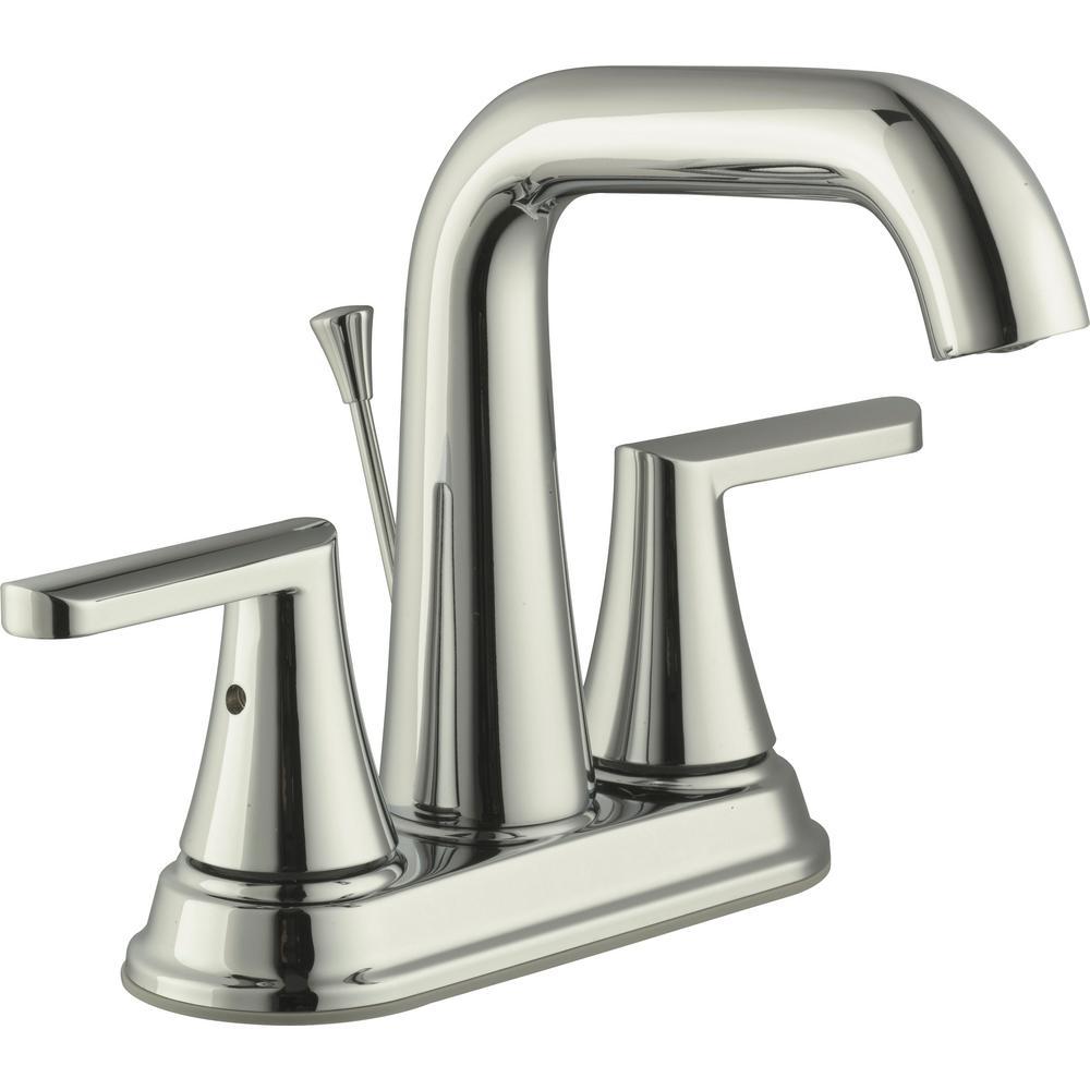 Glacier Bay Jax 4 in. Centerset 2-Handle High-Arc Bathroom Faucet in Polished Nickel