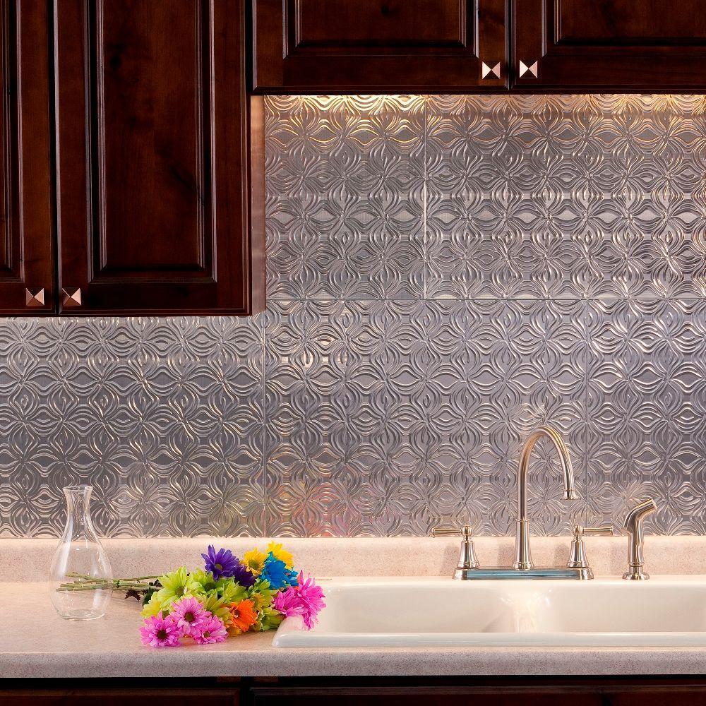 Fasade 24 in. x 18 in. Lotus PVC Decorative Tile Backsplash in Brushed Aluminum
