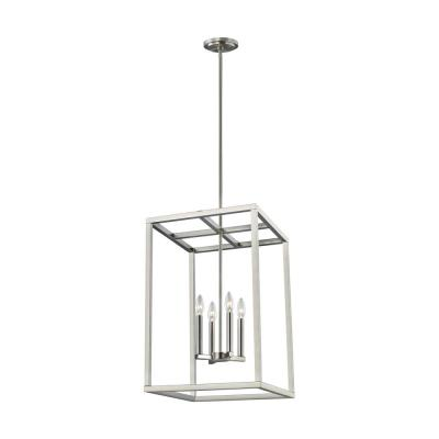 Moffet Street 4-Light Brushed Nickel Hall-Foyer Pendant with Dimmable Candelabra LED Bulb