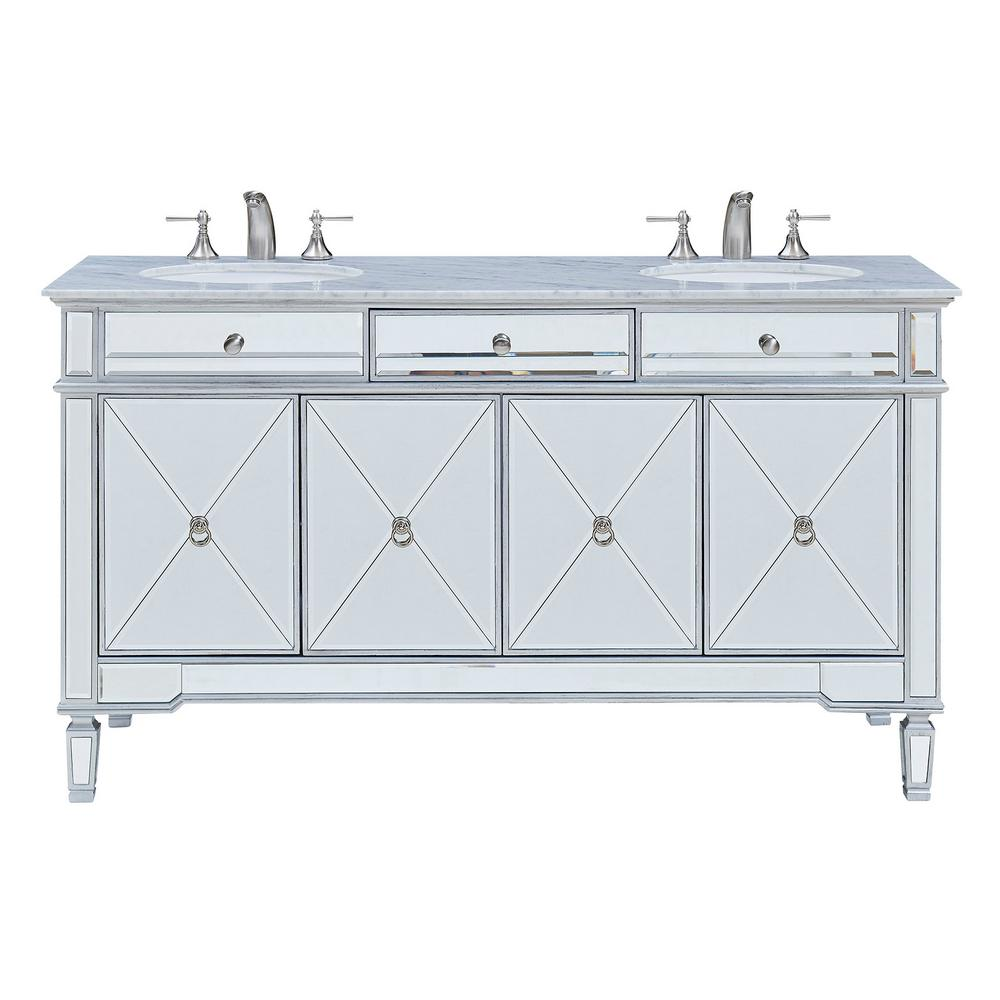Pleasing Madison 60 In Double Bathroom Vanity With 1 Drawer 2 Shelves 4 Doors Marble Top Clear Mirror Finish Download Free Architecture Designs Rallybritishbridgeorg