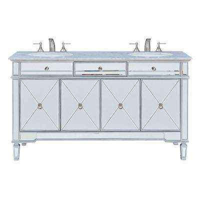 Madison 60 in. Double Bathroom Vanity with 1-Drawer 2-Shelves 4-Doors Marble Top Clear Mirror Finish