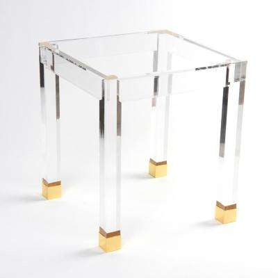 Acrylic Gold Accent Side Table