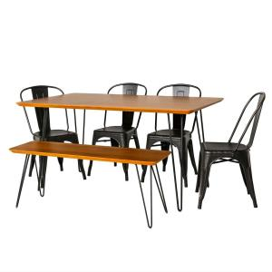 Contemporary Mid Century Modern Urban Square Hairpin 6-Piece Walnut/Black  Dining Set with Caf Chairs