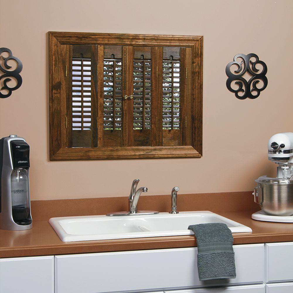 Homebasics traditional real wood walnut interior shutter price varies by size qstd3520 the - Home depot window shutters interiors ...