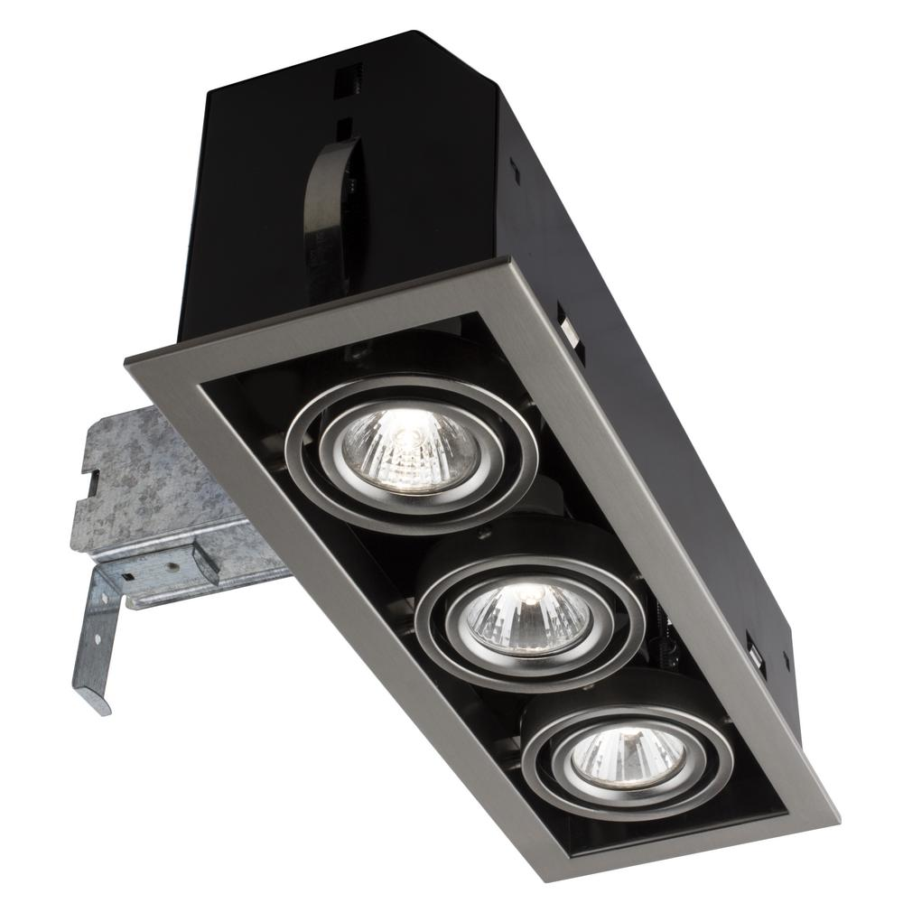 BAZZ Triple Cube 13.25 in. Brushed Steel Recessed Halogen Kit