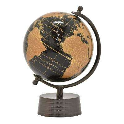 13 in. Metal Globe 8 in. - Nickel Base in Black