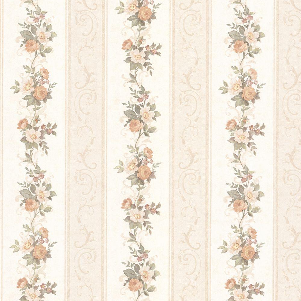 Lorelai Peach Floral Stripe Wallpaper