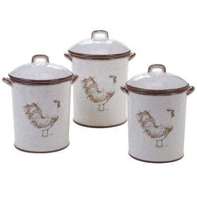 Toile Rooster 3-Piece Ceramic Canister Set