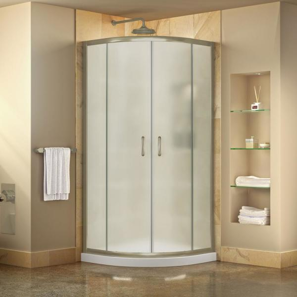 Prime 38 in. x 74-3/4 in. Semi-Frameless Corner Sliding Shower Enclosure in Brushed Nickel with White Base Kit