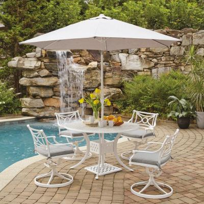 La Jolla Cast White 5-Piece Aluminum Round Outdoor Dining Set with Gray Cushions and Umbrella and Base