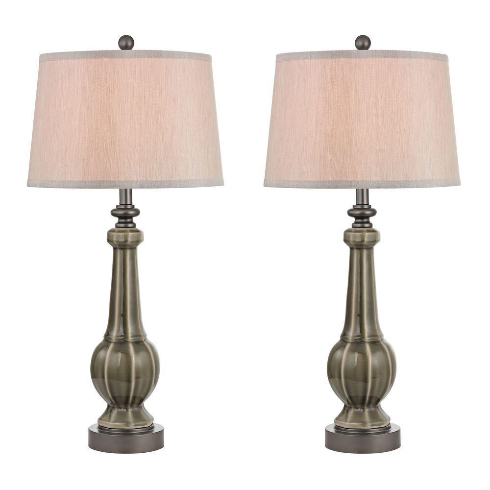 Sailsbury 31 in. Georgia Grey Glaze Table Lamps (Set of 2)