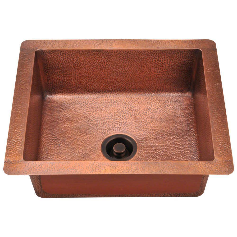 Polaris Undermount Copper (Brown) 25 in. Single Bowl Kitc...