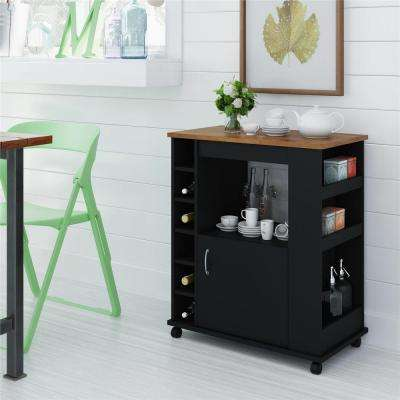 Harding Black Kitchen Cart with Pine Top
