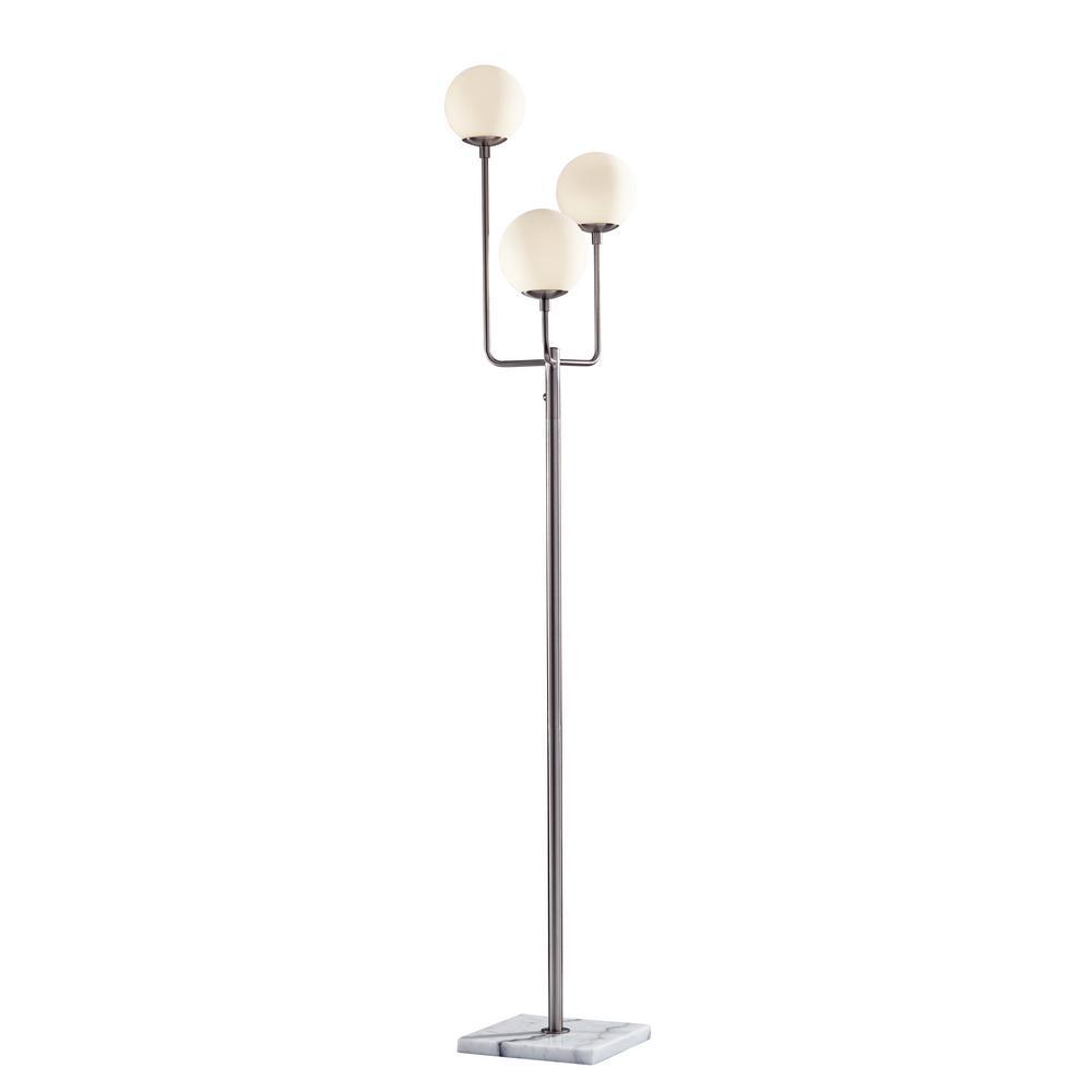 Modern Satin Brass Stem Floor Lamp with Opal Globe Glass Shades