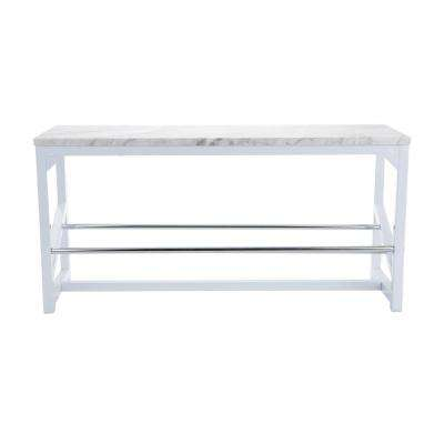 Shoe Bench 10 in. x 14.5 in. 29.75 in. 5-Pair White Shoe Storage Bench with Cushion Marble Print