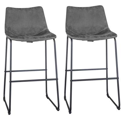 Classic 39 in. Gray Faux Leather Bar Stool (Set of 2)