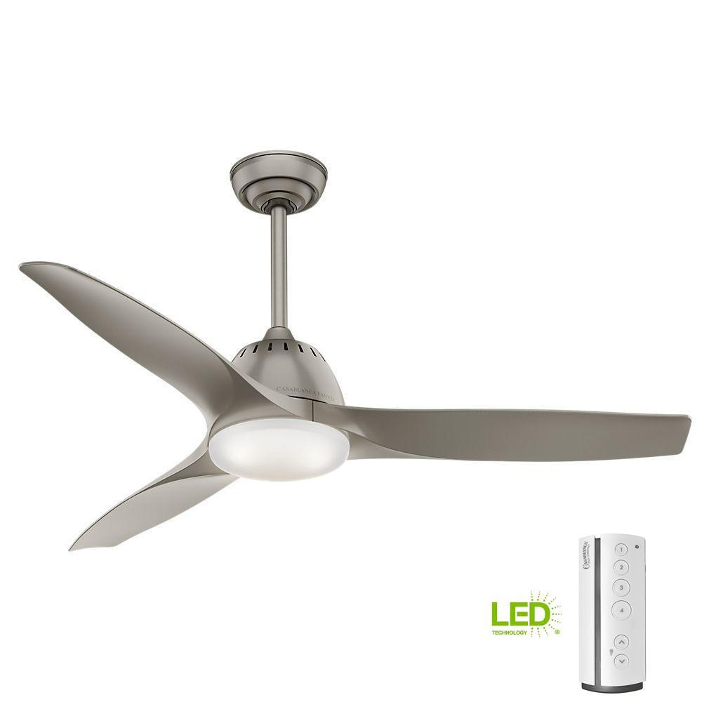 Casablanca Wisp 52 in. LED Indoor Painted Pewter Ceiling Fan with Remote Control