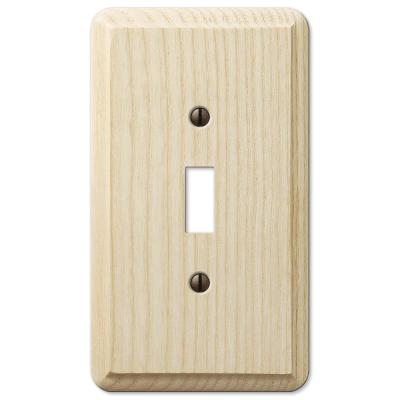 Contemporary 1 Gang Toggle Wood Wall Plate - Unfinished Ash