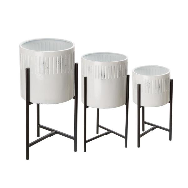 Glitzhome Washed White Metal Plant Stands Set Of 3 1428203506 The Home Depot