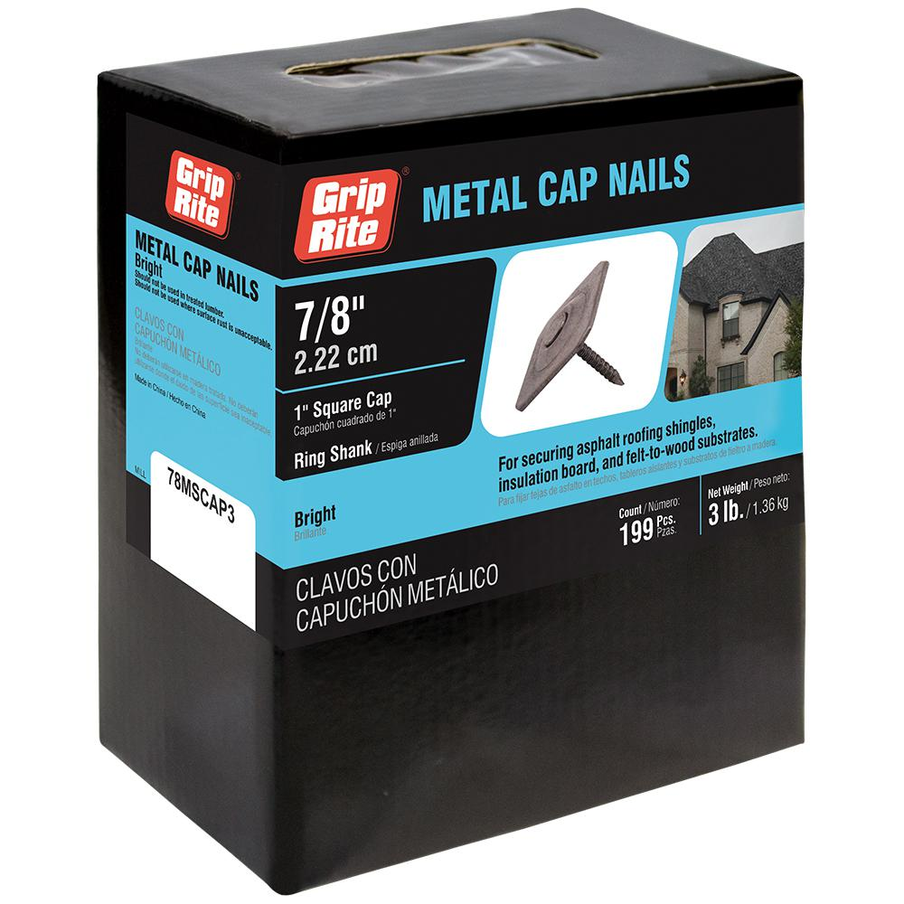 Grip Rite 12 X 7 8 In Metal Square Cap Roofing Nails 3 Lbs Per Pack 78mscap3 The Home Depot