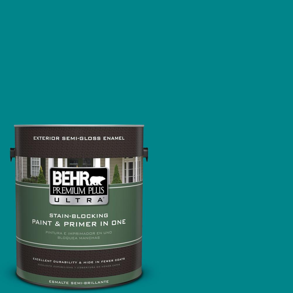 1-gal. #500B-7 Tucson Teal Semi-Gloss Enamel Exterior Paint