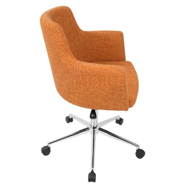 Lumisource Andrew Contemporary Adjustable Orange Fabric Office Chair Oc Andrw O The Home Depot