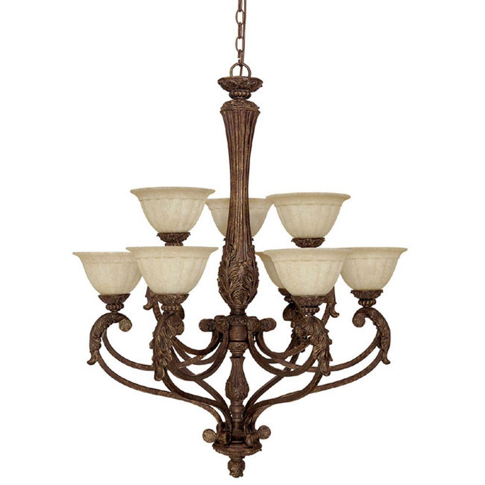 Filament Design 9-Light Chandelier Gilded Bronze Rust Scavo Glass-DISCONTINUED