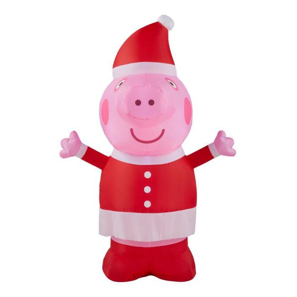 3.5 ft. Inflatable Peppa Pig in Santa Outfit