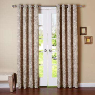 96 in. L Polyester  Paisley Brown Stitch Blackout Curtains (2-Pack)