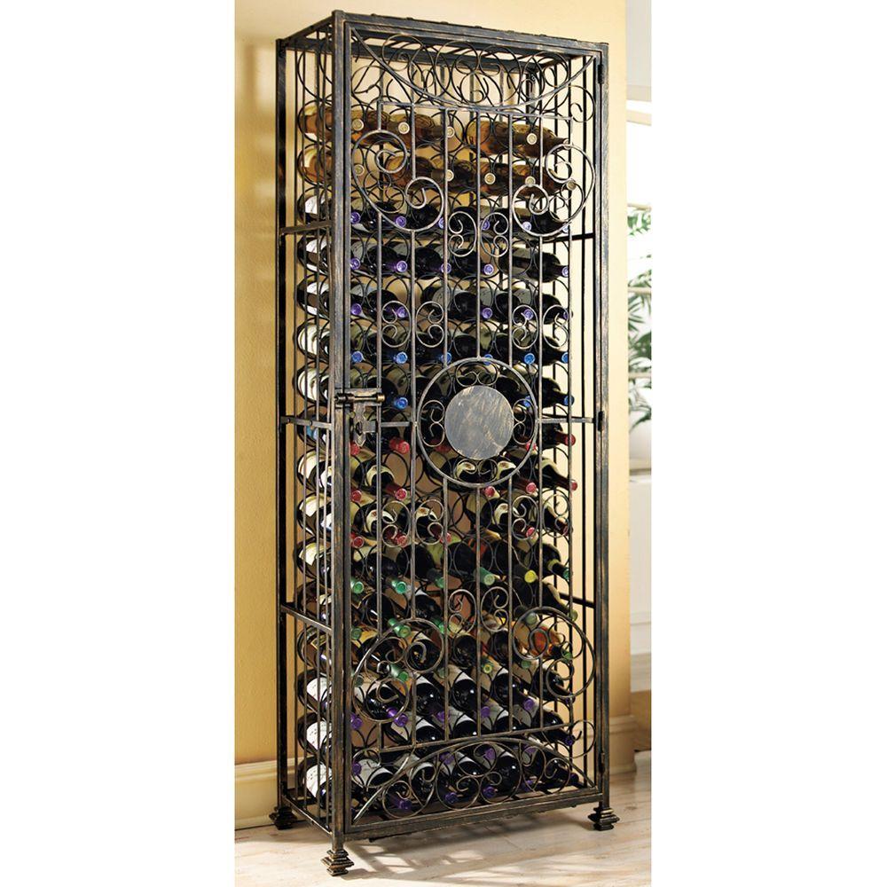 96-Bottle Antique Bronze Floor Wine Rack