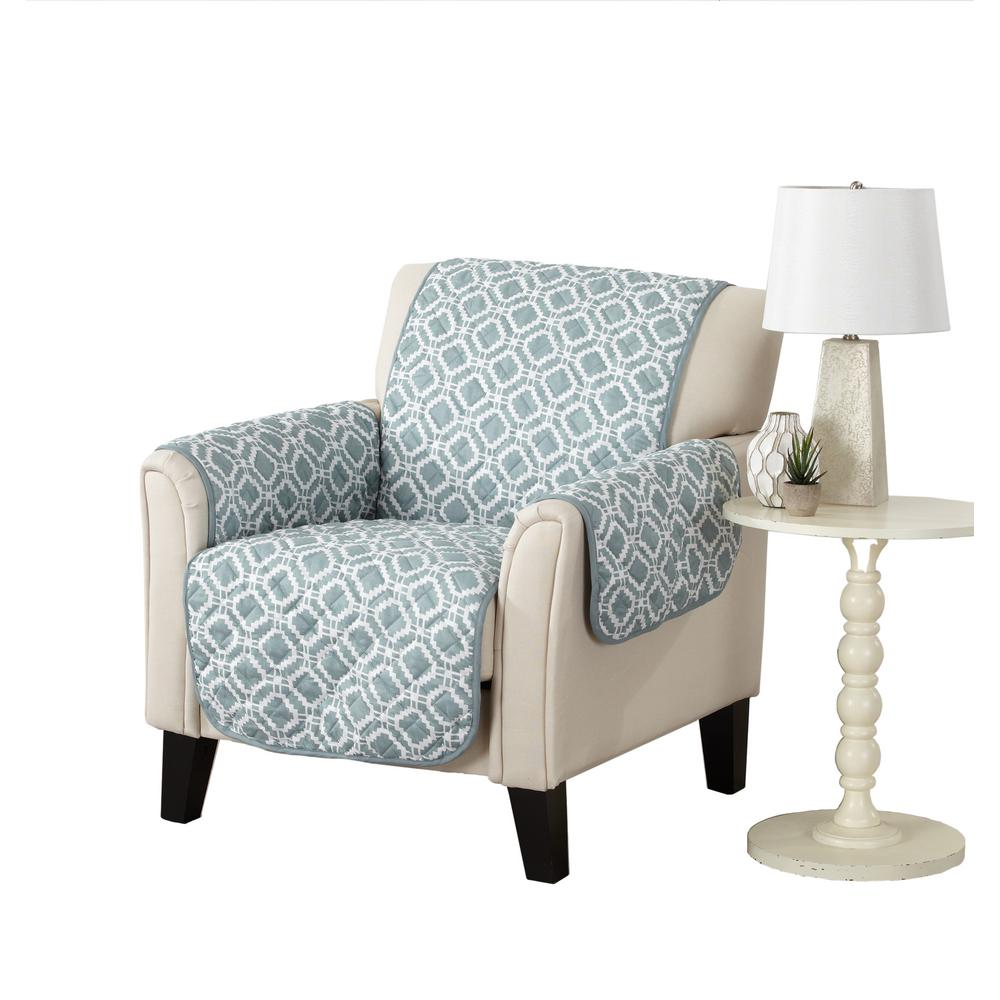 Liliana Collection Blue Silver Printed Reversible Chair Furniture Protector