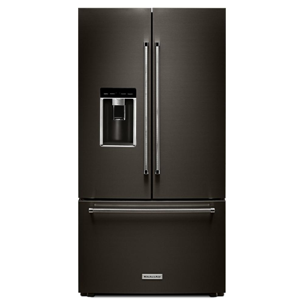 KitchenAid 23.8 cu. ft. French Door Refrigerator in Black Stainless with PrintShield, Counter Depth