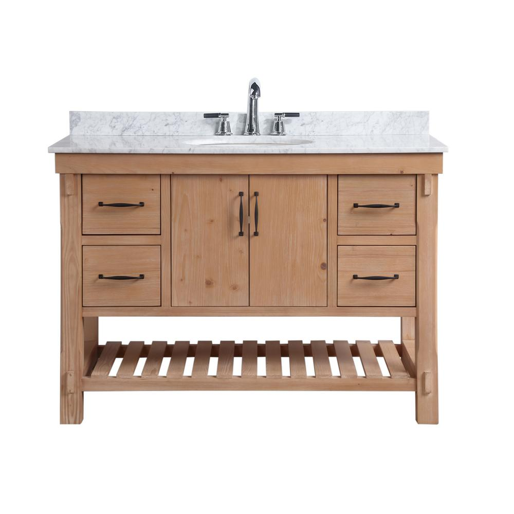 Ari Kitchen and Bath Marina 48 in. Single Bath Vanity in Driftwood with  Marble Vanity Top in Carrara White with White Basin
