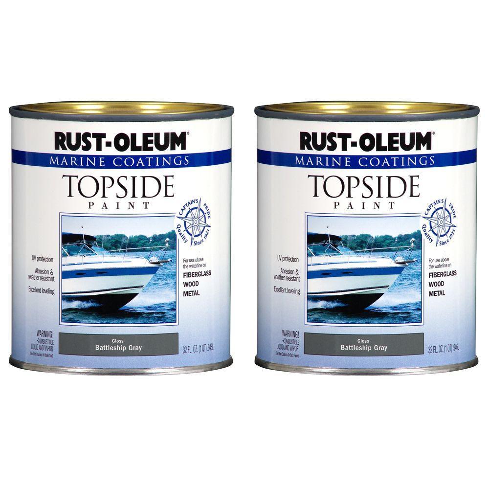 Rust-Oleum Marine Coatings 1 qt. Gloss Battleship Gray Topside Paint (2-Pack)-DISCONTINUED