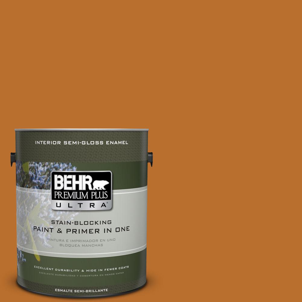 BEHR Premium Plus Ultra 1-gal. #S-H-280 Acorn Spice Semi-Gloss Enamel Interior Paint