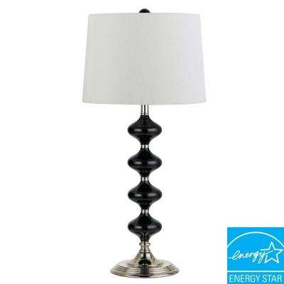 Lendava 25 in. Chrome/Metallic Black Glass Ball Table Lamp