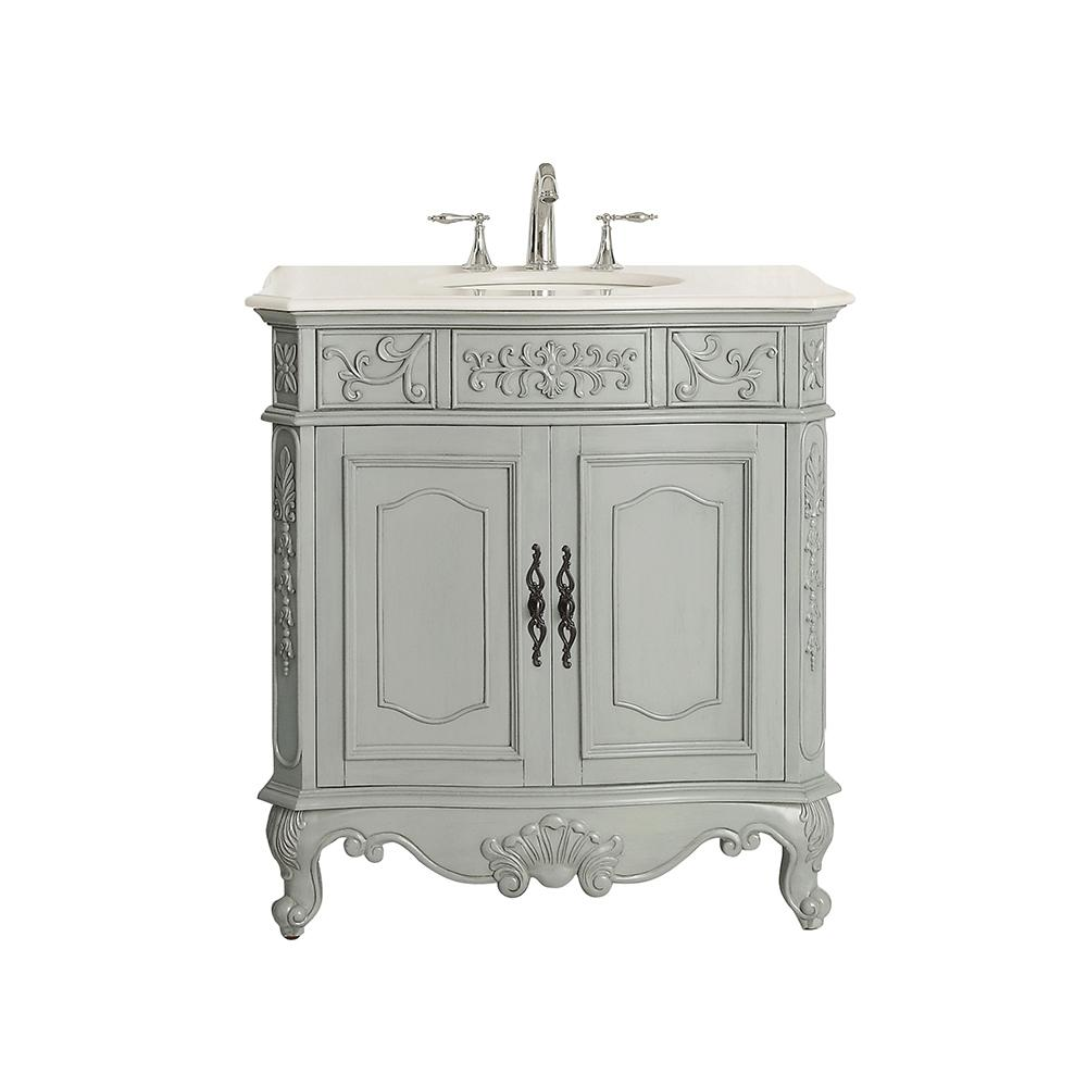 Home Decorators Collection Winslow 33 in. W x 22 in. D Vanity in Antique Gray with Marble Vanity Top in White with White Sink