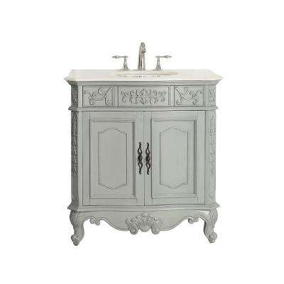 Winslow 33 in. W x 22 in. D Vanity in Antique Gray with Marble Vanity Top in White with White Basin