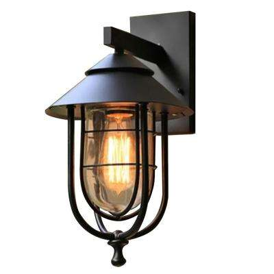 1-Light Sand Black Medium Outdoor Wall Mount Sconce with Clear Glass Shade