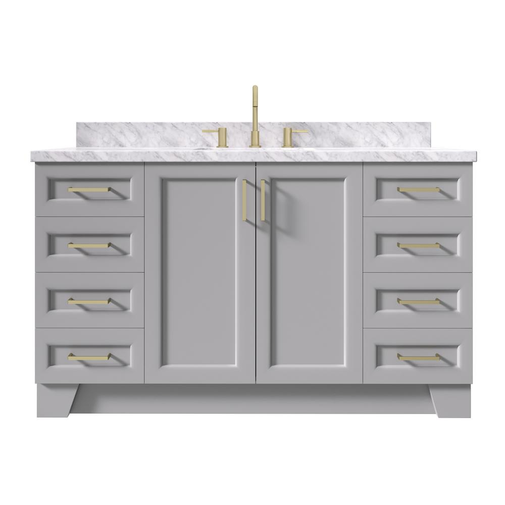 Ariel Taylor 61 In W X 22 In D Bath Vanity In Grey With Marble Vanity Top In Carrara White With White Basin Q061scwrvogry The Home Depot