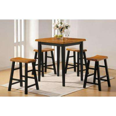 Gaucho 5-Piece Oak and Black Bar Table Set