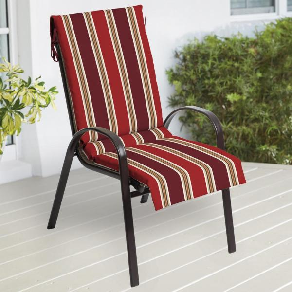 Outdoor Patio Sling Chair Cushion ~ Spice Stripe ~ 18 x 47 x 1.75 **NEW**