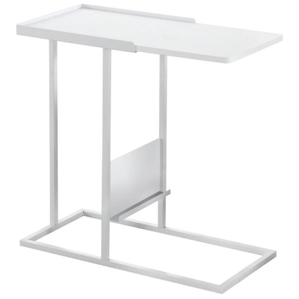 Jasmine 23.75 in. White Metal Accent Table with A Magazine Rack