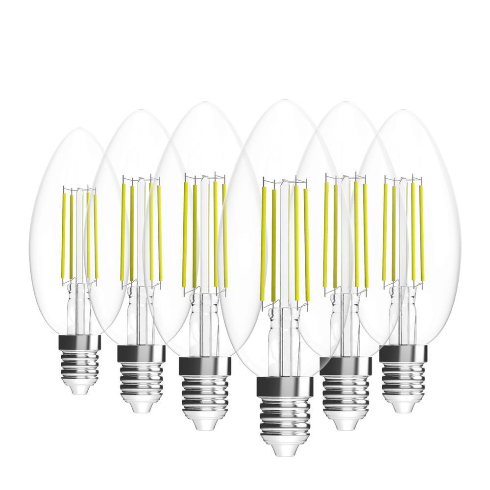 35-Watt Equivalent B10 Dimmable E12 Candelabra Base LED Light Bulb 5000K Daylight (6-Pack)