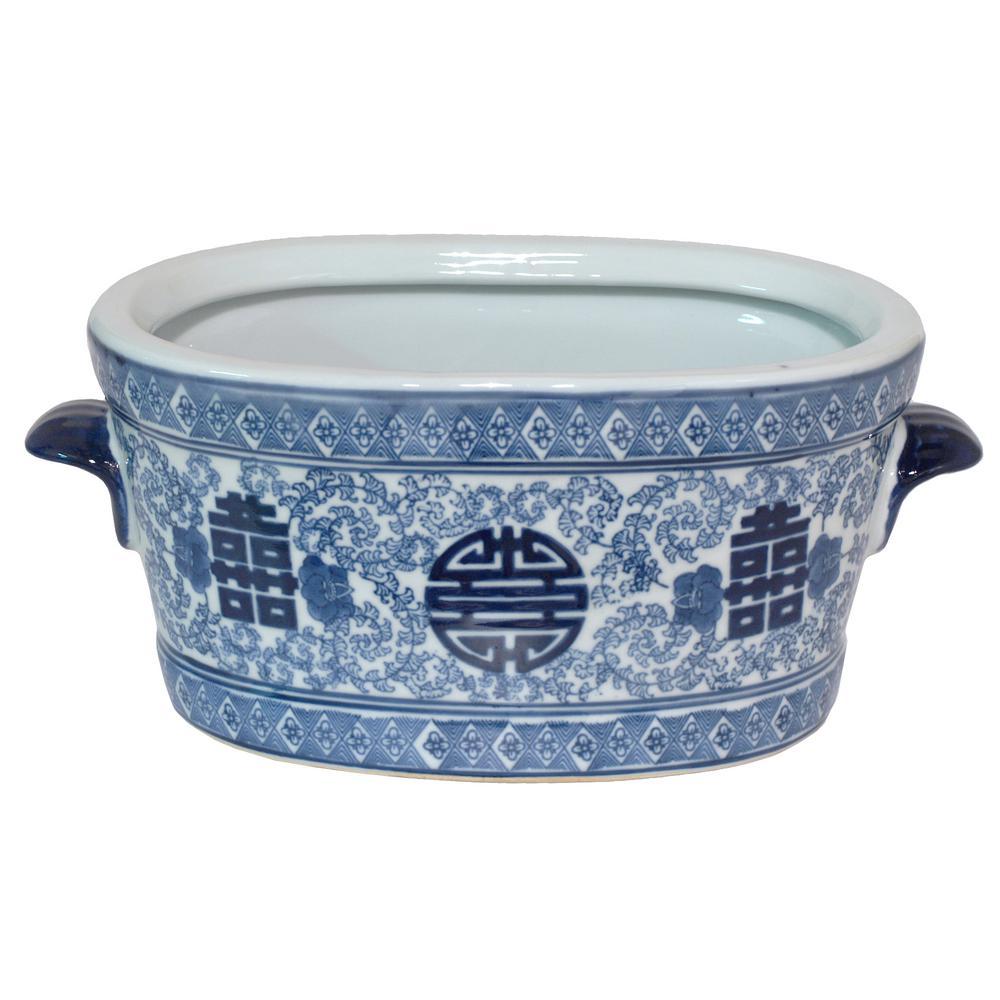 Blue and White Ceramic Planter