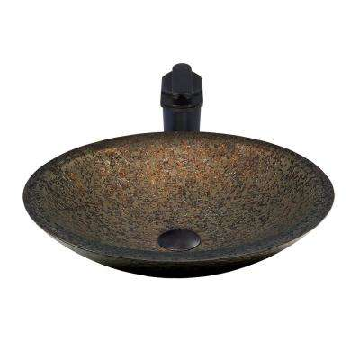 Glass Vessel Sink in Forest Green with Sealer, Drain, Mounting Ring and Faucet in Oil Rubbed Bronze