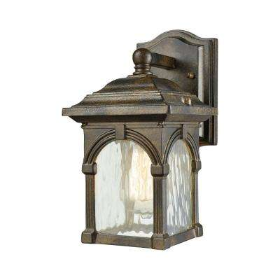 Stradelli Small 1-Light Hazelnut Bronze with Clear Water Glass Outdoor Wall Mount Sconce