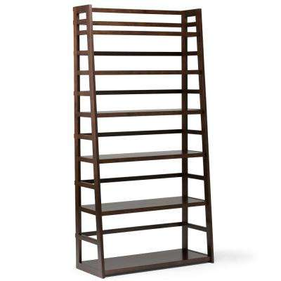 Acadian Solid Wood 72 in. x 36 in. Rustic Wide Ladder Shelf Bookcase in Tobacco Brown