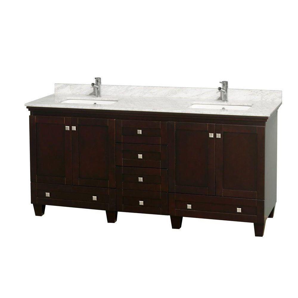 Double Vanity Marble Vanity Top White Square Sink