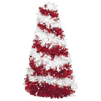 10 in. Candy Cane Tinsel Tree Centerpiece (6-Pack)